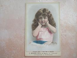 TARARE Carton Publicitaire Epicerie Fine ROSIER Fillette Avec Longs Cheveux RHONE 69 - Tarare