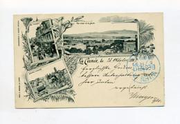 1897 Kreta S/W Lithokarte La Canee Chania Mit Verschiedenen Ansichten Und 20 Para Türkei Frankatur - Grèce