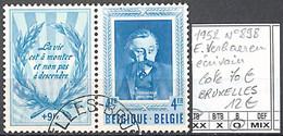 NB - [844752]TB//O/Used-c:70e-Belgique 1952 - N° 898, 4f+9f (vignette) E. Verhaeren, 'BRUXELLES', Ecrivains - Schrijvers
