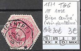 NB - [846795]TB//O/Used-c:30e-Belgique 1871 - TG6, 1f Rose, Bien Centré (voir Dentelure) - Telégrafo