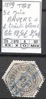 NB - [846796]TB//O/Used-c:13e-Belgique 1879 - TG8, 5c Gris, ANVERS + 2 Traits Bleus - Telégrafo