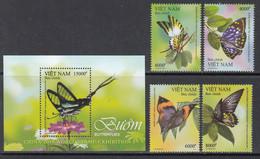 2019 Vietnam Butterflies Papillons Complete Set Of 4 + Souvenir Sheet MNH - Vietnam