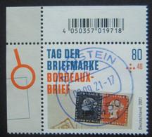 "Bund/BRD September 2021,Zuschlagsmarke ""Tag Der Briefmarke-Bordeaux-Brief"", MiNr 3623, Ecke 1, Ersttagsgestempelt - Oblitérés"