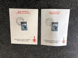 Belgie 1937 446 Monarchie Boudewijn TBC Tuberculosis Croix De Lorraine 2 Herdenkingskaarten (NL&F) OCB 12€ - Cartes Souvenir