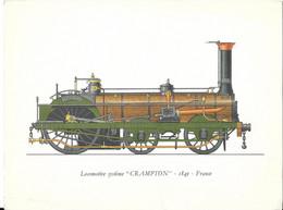 GRAVURE LABORATOIRES ROUSSEL PARIS - EMA 1962 POUR PHARMACIE A ROUBAIX - ILLUSTRATION LOCOMOTIVE CRAMTON 1849 FRANCE - Ferrovie