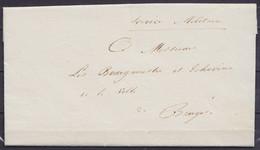 """L. Datée 17 Août 1831 Du Colonel Commandant La Province De Flandre-Occidentale à BRUGES En Franchise Pour E/V - Man. """"Se - 1830-1849 (Independent Belgium)"""