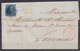 """L. """"Manufacture De Tapis Dumortier"""" Affr. N°2 (margé) Superbe P120 Càd TOURNAY /29 JANV 1850 Pour LOUVAIN (au Dos: Càd A - 1849 Epaulettes"""