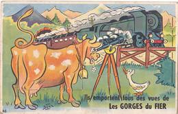 LES GORGES DU FIER  EN HAUTE  SAVOIE  CARTE   SYSTEME COMPLET   TRAIN ET VACHE - Autres Communes