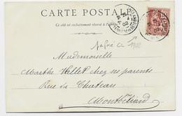 FRANCE MOUCHON 10C PERFORE CL CARTE BELFORT 1902 LA GARE - 1900-02 Mouchon