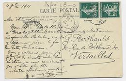 FRANCE SEMEUSE 5C PAIRE PERFORE LB CARTE MALO LES BAINS NORD 1911 - 1906-38 Säerin, Untergrund Glatt