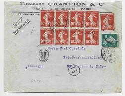 FRANCE SEMEUSE 10C BLOC DE 8+1+5C DEFAUT LETTRE REC PARIS 1909 POUR ALLEMAGNE PEU COMMUN - 1906-38 Sower - Cameo