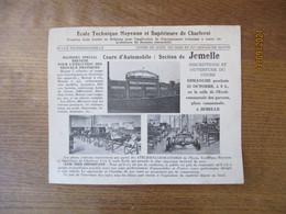 CHARLEROI 18 OCTOBRE 1938 ECOLE TECHNIQUE MOYENNE ET SUPERIEURE COURS D'AUTOMOBILE SECTION DE JEMELLE - Advertising