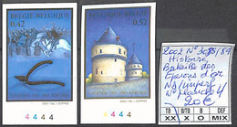 NB - [853822]TB//**/Mnh-Belgique 2002 - N° 3088/89, ND/Imperf, Bataille Des Eperons D'or, N° Planche 4 - 2001-2010