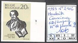 NB - [853824]TB//**/Mnh-Belgique 1983 - N° 2106, ND/Imperf, Hendrik Conscience, N° Planche 2, Personnalités - 2001-2010