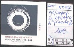 NB - [853991]TB//ND/Imperf-Belgique 2001 - N° 2978, ND/Imperf, La DYNAMO, N° Planche 2 - 2001-2010
