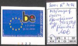 NB - [853992]TB//ND/Imperf-Belgique 2001 - N° 3014, ND/Imperf, Union Européenne, Logo MOSTRA, N° Planche 2 - 2001-2010