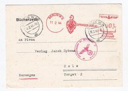 """Deutsches Reich Auslands DS """"Bücherzettel"""" Vom Springer Verlag Berlin Nach Oslo Klasse AFS Und Zensur - Covers & Documents"""