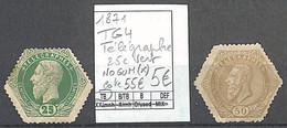 NB - [860031]TB//(*)/nogum-c:55e-Belgique 1871 - TG4, Télégraphe, 25c Vert (*)/Nogum - Telégrafo