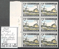 NB - [860694]TB//**/Mnh-Belgique 1968 - N° 1461, Brun Clair à Gauche, Bd6, N° Planche, Moulins - 1961-1970