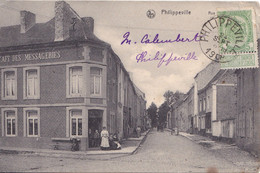 PHILIPPEVILLE   RUE DE NAMUR CAFE DES MESSAGERIES  CPA  CIRCULEE - Philippeville