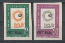 VIETNAM DU NORD - N°358/9 ** (1964) Année Internationale Du Soleil Calme. NON DENTELE - - Vietnam
