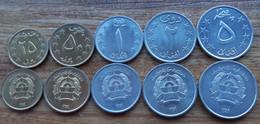 Afghanistan Complete Set 5 Coins 25 50 Pul + 1 2 5 Afghani Taliban 1980 AUNC - Afghanistan