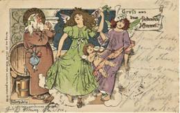 398 - Allemagne - Lithographie - L. BECHSTEIN  - IILLUSTRATEUR - Circulée En 1899  ---Mönch, Engel .....precurseur - Other Illustrators