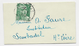 FRANCE GANDON 3FR VERT SEUL MIGNONNETTE C. PERLE VALDRIVAS 3.1.1948 - 1945-54 Marianne De Gandon