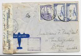 CONGO BELGE PA 4FR50X2+50C ROUSSEURS LETTRE COVER AVION 1942 TO SUISSE HELVETIA CENSURE EGYPTIAN - 1923-44: Brieven