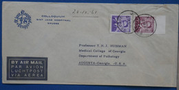¤16 BELGIQUE  BELLE LETTRE 1962 BRUGGE POUR AUGUSTA  USA+ BORD DE FEUILLE + AEROPHILATELIE + ++ AFFRANCHISS.INTERESSANT - Briefe U. Dokumente