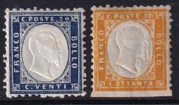 Regno D'Italia I Em. Serie Di Due Valori 1862 Sass. 2+4 MH* Cv 100 - Neufs