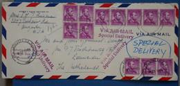 ¤16 ETATS UNIS  BELLE LETTRE 1960  AUGUSTA POUR  LEUWARDEN + BANDES DE T.P + AEROPHILATELIE ++ AFFRANCHISS. PLAISANT - Briefe U. Dokumente