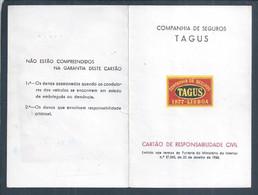 Cartão Seguros Tagus De Responsabilidade Civil Do Carro Fiat De 1964. Cartão Da Companhia De Seguros Tagus De Responsabi - Portugal