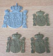 Espagne / Espana - 4 Plaques Aux Armoiries Du Pays - PLVS VLTRA - Métal Argenté Et Doré - Spagna