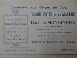 Carte De Visite Grand Hôtel De La Malène Dauphin Monginoux La Malène (Lozère). - Cartes De Visite