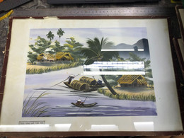 VIET NAM Sell-Old Paintings Painted On Paper Before 1975-paintings Of Antiques And Antiques-Author's Signature Is Not Av - Non Classificati