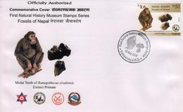 RAMAPITHECUS FOSSIL Commemorative COVER 2014 NEPAL - Chimpanzees