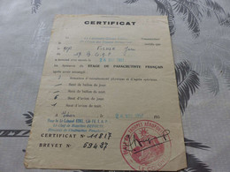 CA-84 , Certificat De Stage De Parachutiste Français , 1951, Cachet Rouge Ecole De Troupes Aéroportés - Documents