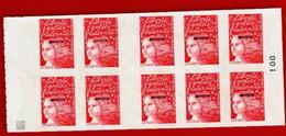 Timbres - Carnet De Dix Timbres, Marianne Du 14 Juillet Adhésif, Sans Valeur Faciale Ou Permanent, N°100 (Mayotte) - Ungebraucht