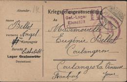 Guerre 14 Prisonnier Français Camp Eichstätt (à La Base Carte Pour Grafenwöhr Barré) Censure Camp CAD Ingolstadt 29 7 18 - Cartas