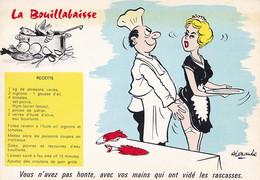 """ILLUSTRATEUR  ALEXANDRE - RECETTE """" LA BOUILLABAISSE """" VOUS N AVEZ PAS HONTE... MAINS QUI ON VIDE LES RASCASSES -2 SCANS - Alexandre"""