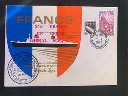 Enveloppe Club Philatélique Du Paquebot FRANCE En Grève Chenal Bloqué 23/09/1974 - Brieven En Documenten