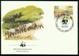 Fd Sri Lanka FDC 1986 MiNr 756   Endangered Species Conservation Sri Lanka Wild Elephant Elephants Bathing WWF - Sri Lanka (Ceylon) (1948-...)