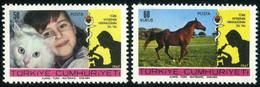 Turkey 1967 Mi 2078-2079 MNH Veterinary Medicine | Girl With Angora Cat | Horse - Unused Stamps