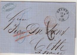 ALLEMAGNE : . BREME . MP . TAXEE . POUR LA FRANCE . 1867 . - Bremen