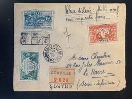 Lettre Recommandée Brazzaville Du Congo Vers Le Havre 1932 No 109 111 Et 112 Cachetée à La Cire à L'arrière AA Encadré - Used Stamps