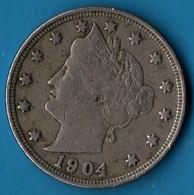 USA 5 CENTS 1904  KM# 112 Liberty Nickel - 1883-1913: Liberty