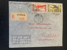 Lettre Recommandée De Grimari AEF 12 /12/39 à Le Havre Principal Arrivée Le 29/12 - - Used Stamps