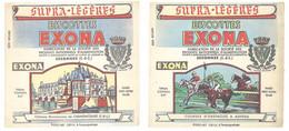 3 Buvards Biscottes Exona , Essonnes - Chenonceaux, Pierrefonds, Auteuil (course D'obstacles, Chevaux )dans L'état - Zwieback