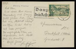 TREASURE HUNT [01004] Danzig 1936 Picture Post Card (Krantor, Harbour Crane) Sent To Germany, With Brösen 10 Pf Green - Danzig